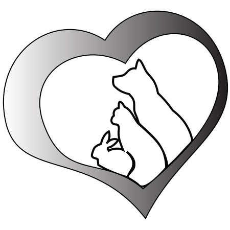 Pets and heart (cat, dog and rabbit) Stock Illustratie