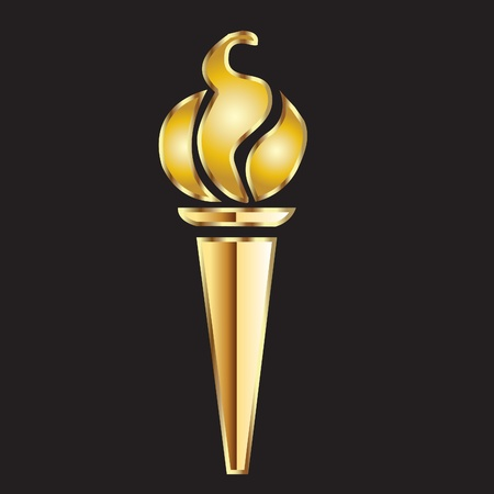 Torch flame gold Vector