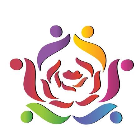 Team helpt roos logo Stock Illustratie