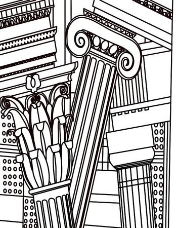 doric: Columnas antiguas, griego, d�rico Vectores
