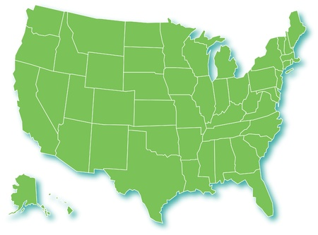 new york map: Green Map of USA  Illustration