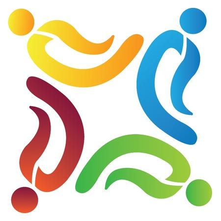 Teamwork people logo Illustration