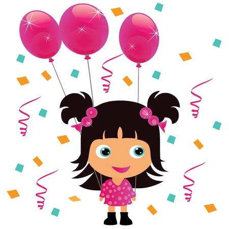 Niña con globo de cumpleaños de parte de color rosa Foto de archivo - 10893596