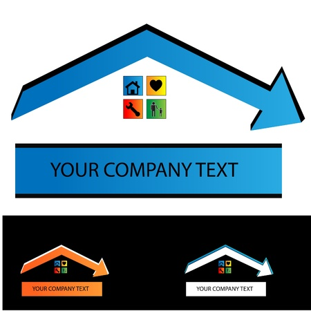 house construction: Real estate contract building contruction Logo Illustration