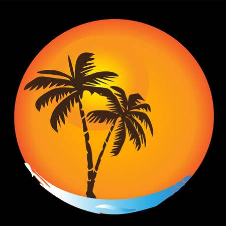 Tropical sun beaches palms apt logo Vector