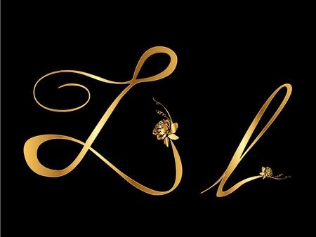 lettres en or: Lettre L d'or avec des roses