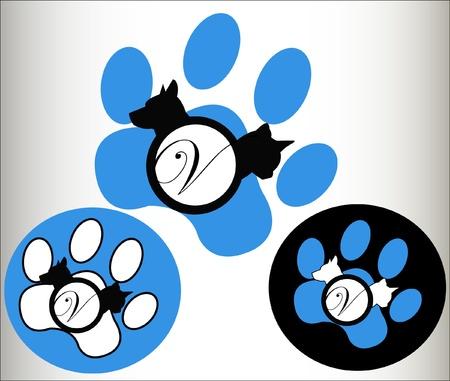 leon de dibujos animados: Mascotas veterinarias Logo