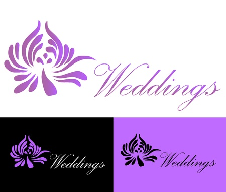lowers: Weddings Card Logo Illustration
