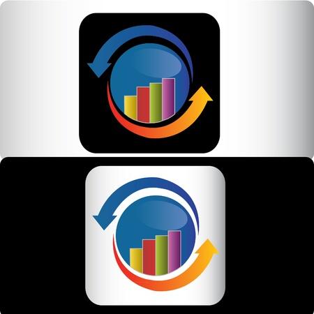 Business financial logo design Vettoriali