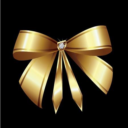 ダイヤモンドとゴールドのリボン  イラスト・ベクター素材