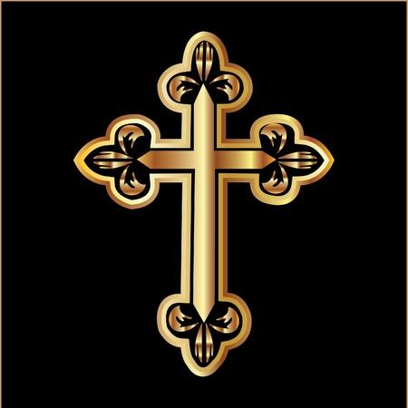 cruz religiosa: Cristianismo cruz de oro Vectores