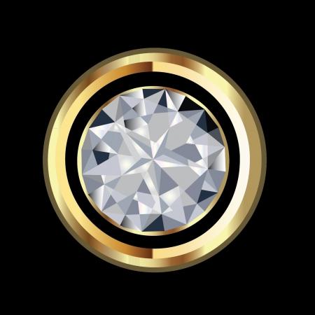 diamond jewelry: Diamanti e oro lucido Vettoriali