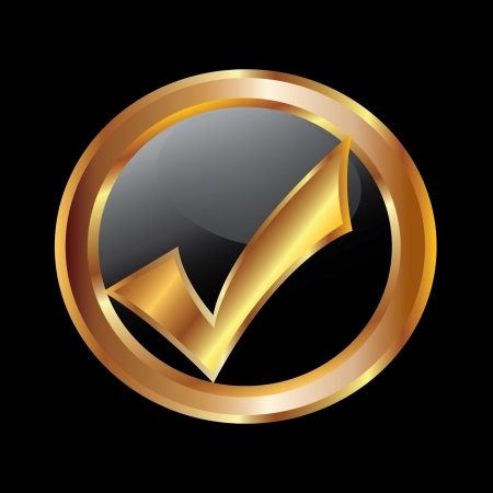 Check mark gold icon  Vector