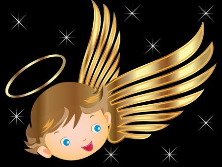 angel with gold wings  Vector