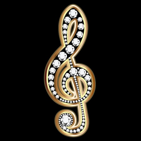 gem: Musical note with diamonds  Illustration