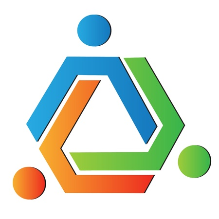 united nations: Los colores del equipo de negocios logo Vectores