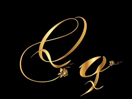 typesetting: Golden vector letter Q with roses (collection) Illustration