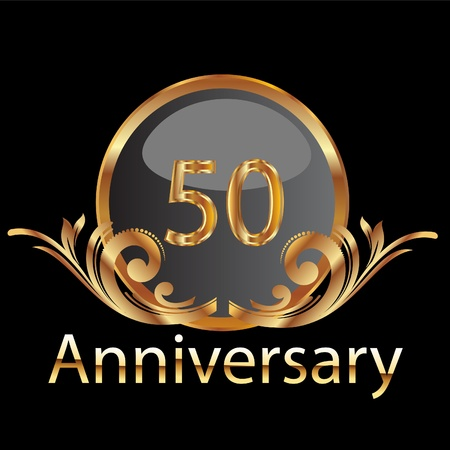 Gold 50th anniversary Vector