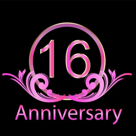 anniversary party: 16 � anniversario vettore compleanno Vettoriali