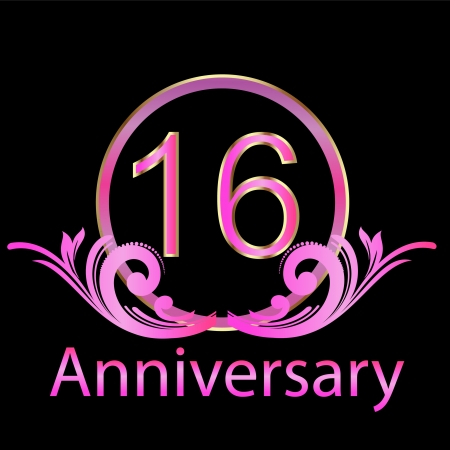 anniversary backgrounds: 16th anniversary birthday vector