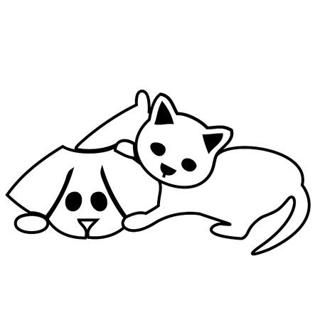 Leuke kat en hondsilhouetten Stock Illustratie