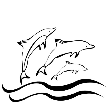 Dolphins silhouettes vector and waves Illustration