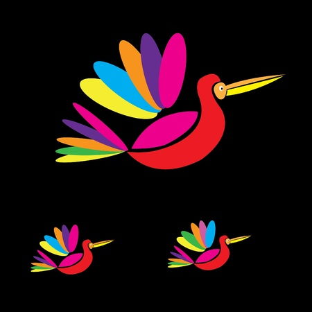 Multicolored birds flying vector Vector