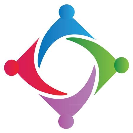 Unión símbolo de trabajo en equipo vector logo
