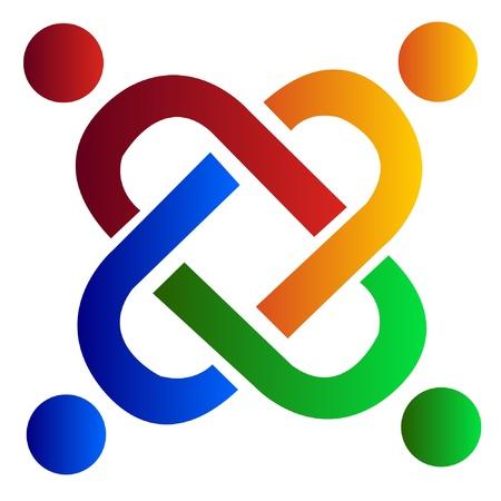 logo terre: Le travail d'�quipe du groupe vecteur logo aide