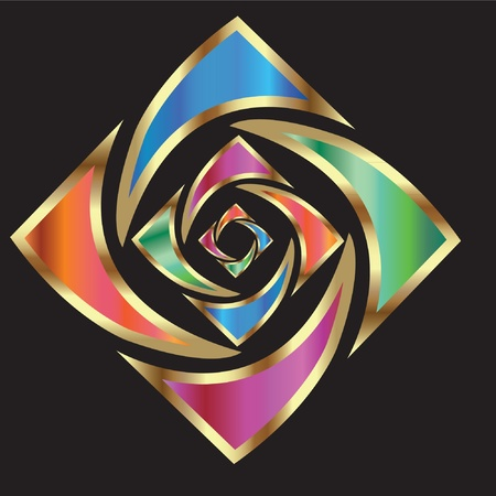 charitable: Abstract gold flower logo Illustration