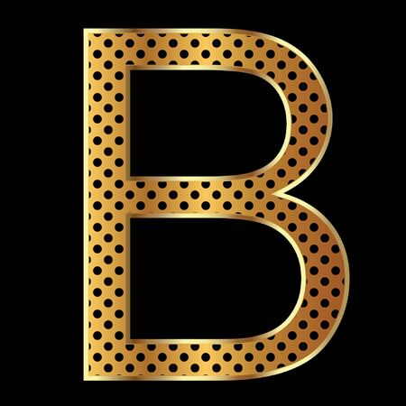 Letter b with tiger style and gold Vector