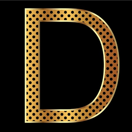 Letter d with tiger style and gold Vector