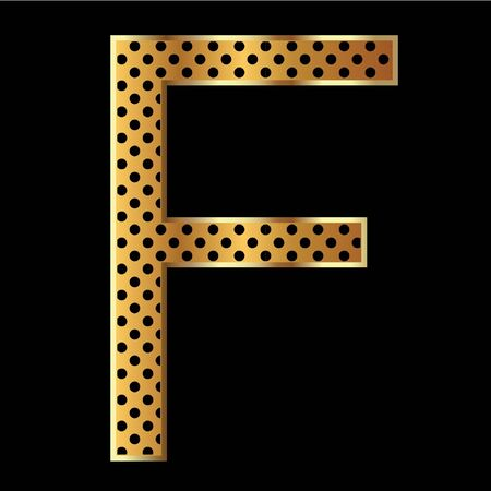 Letter f with tiger style and gold Vector