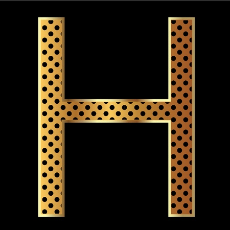 Letter h with tiger style and gold Vector