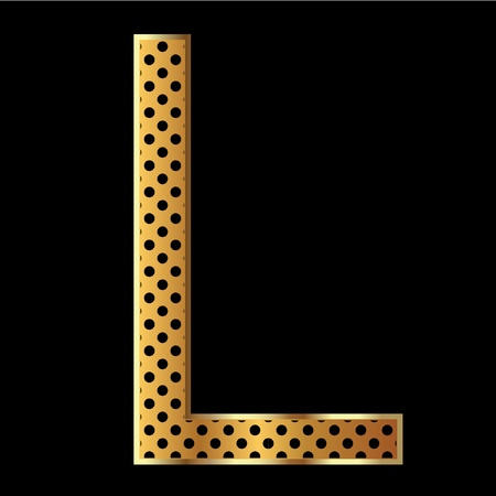 Letter l with tiger style and gold Vector