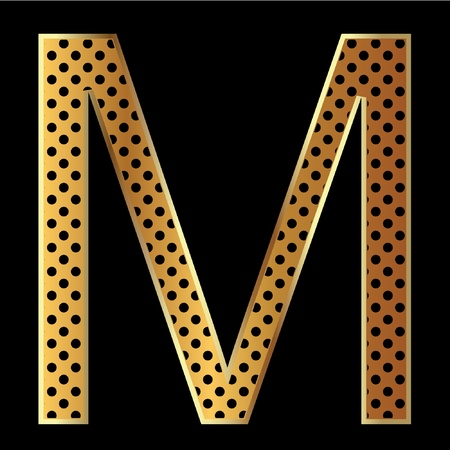 Letter m with tiger style and gold Vector