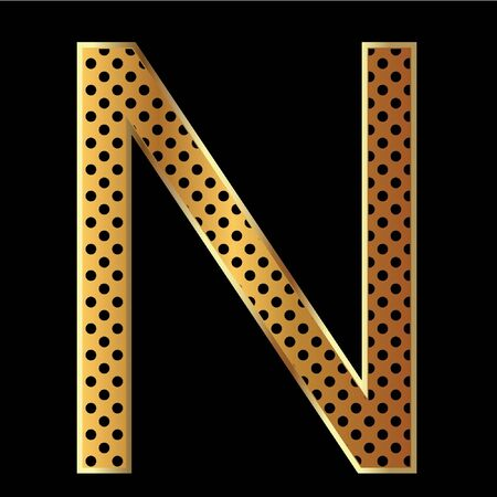 Letter n with tiger style and gold Vector
