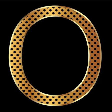 Letter o with tiger style and gold Vector