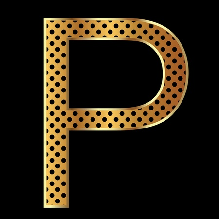 Letter p with tiger style and gold Vector