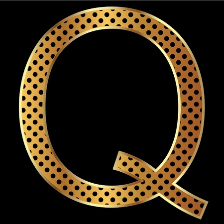 Letter q with tiger style and gold Vector