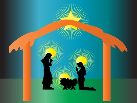 Nativity born of Jesus in Christmas Vector