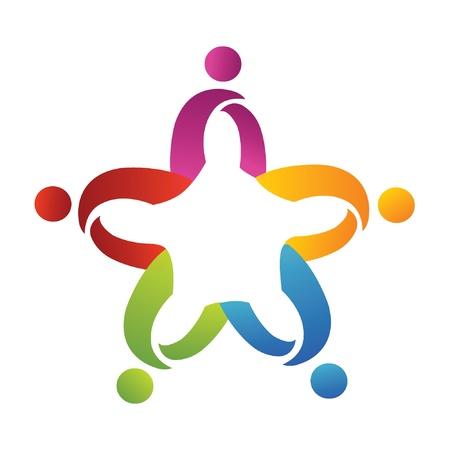 work together: Teamwerk abstracte mensen helpen logo Stock Illustratie