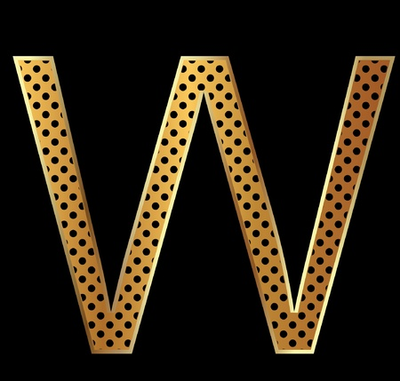 Letter w with tiger style and gold Vector