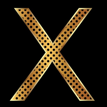 Letter x with tiger style and gold Vector