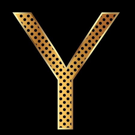 Letter y with tiger style and gold Vector