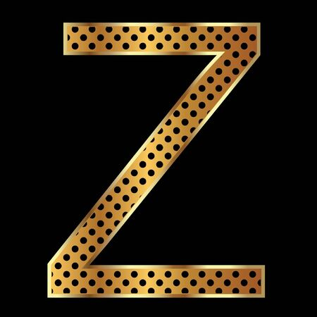 Letter z with tiger style and gold Vector