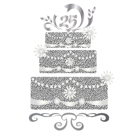 cakes background: 25 years celebration silver cake