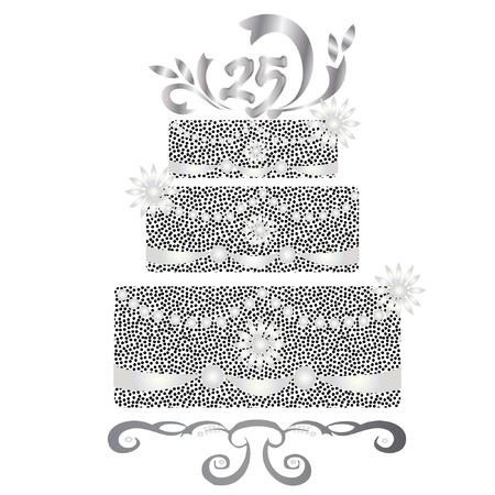 25 years celebration silver cake