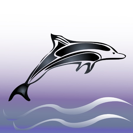 dolphin silhouette: Dolphin and sea vector Illustration