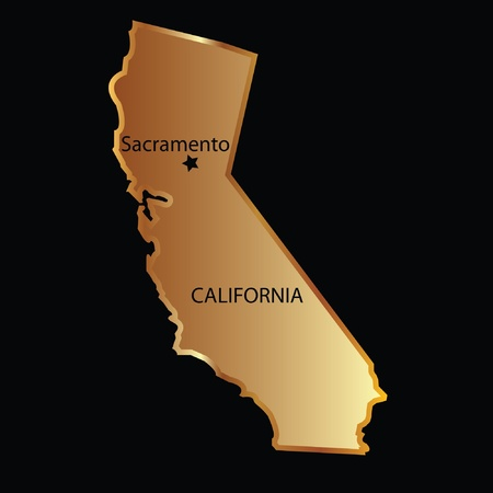 sacramento: Gold california state map with capital name